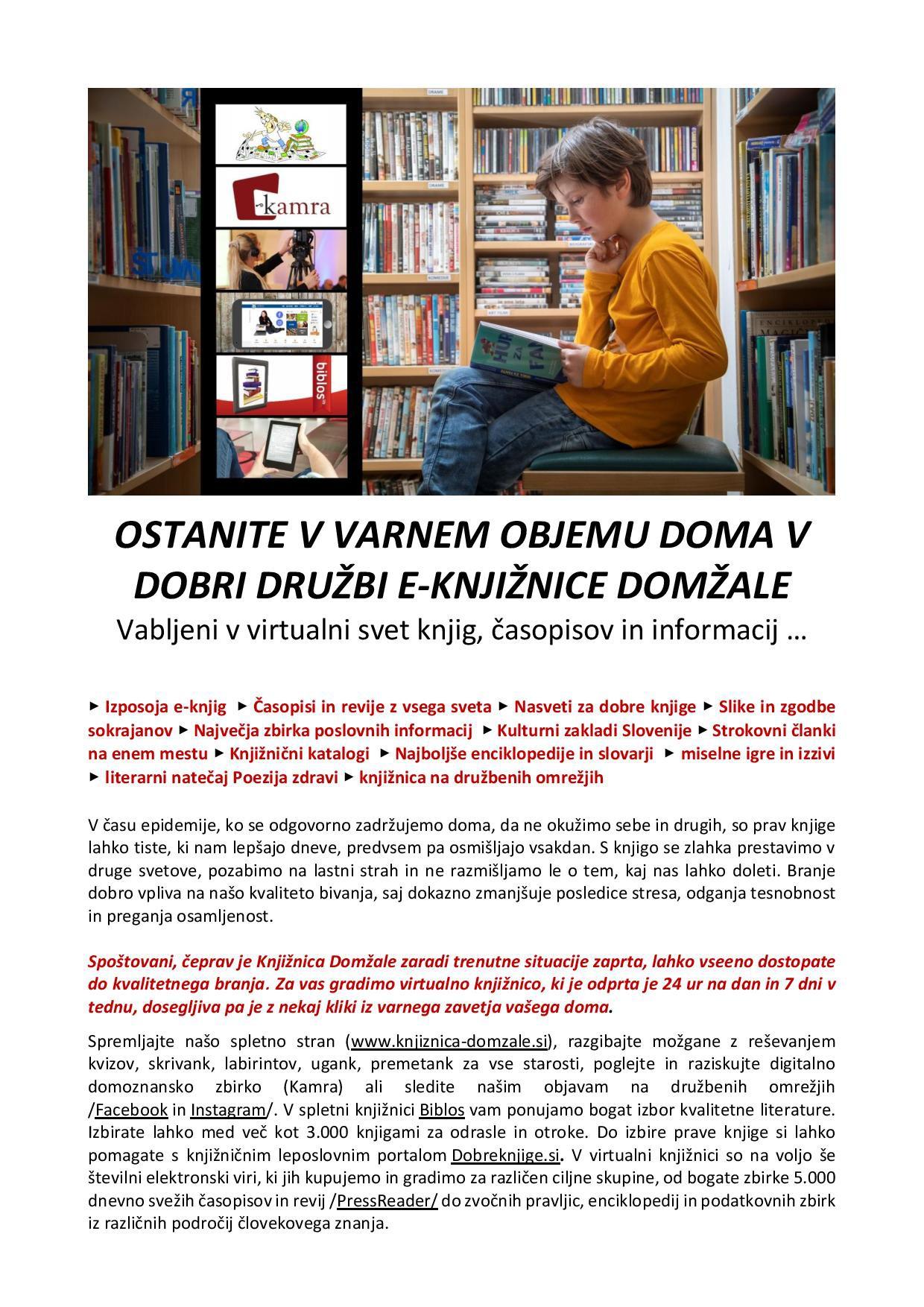 Virtualna knjižnjica Domžale - Kako ostati doma in brati?